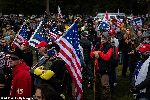 Hardesty branded the incident as 'another example of being black in America'. Pictured, several hundred members of the Proud Boys gathered for a rally in Portland in September