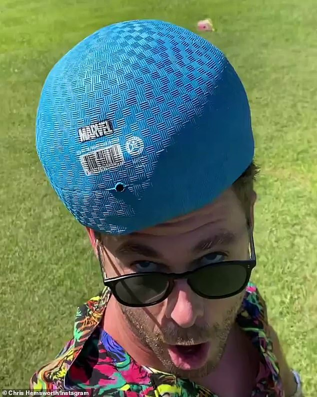 Balls up:When the camera panned back to Chris, he this time had a large blue ball embellished with a Marvel logo, on top of his head