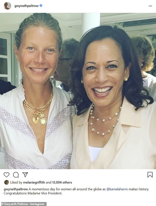 First-ever:On her Instagram, Paltrow described Saturday's election results as a 'momentous day for women all around the globe' due to Kamala Harris becoming the first-ever woman to be named Vice President of the United States