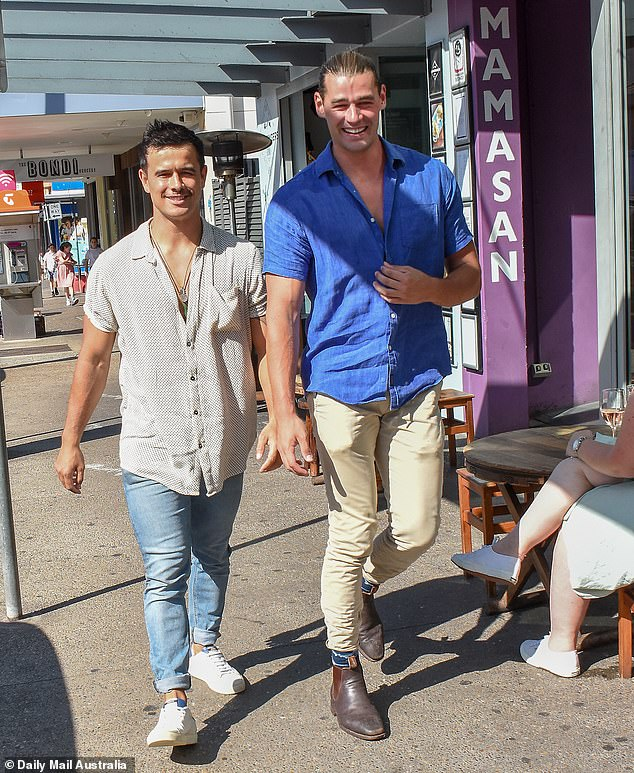 Elly and Becky, who? Dumped Bachelorette stars Adam Todd (right) and Shannon Karaka (left) looked far from heartbroken, as they enjoyed drinks with their reality star pals in Sydney's Bondi on Saturday
