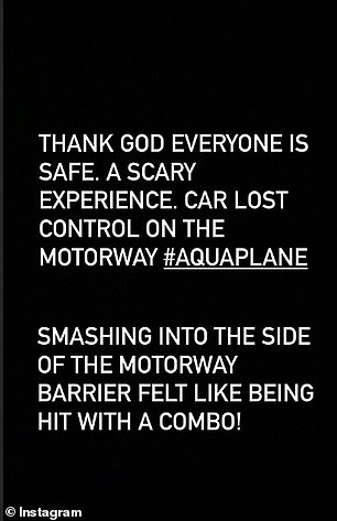 Sharing the horrific incident on Instagram, the boxer wrote: 'Thank God everyone is safe. 'A scary experience. Car lost control on the motorway #aquaplane'