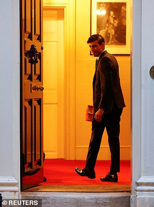 MPs believe Rishi Sunak, pictured in No11 last night, is 'agitating like fury' for the top job