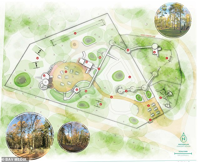 Pictured: plans for new playground in Sandringham,Norfolk which features water play tables with pumps at the top and bottom and talking tubes so kids can communicate