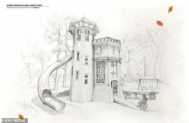 Pictured: plans for new playground in Sandringham, Norfolk, modelled on the Appleton Water Tower in Sandringham