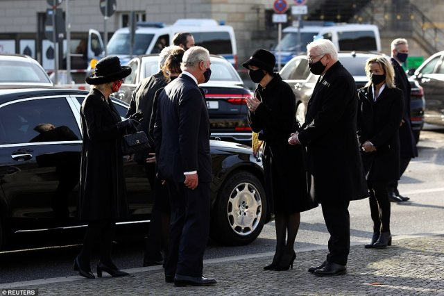 Prince Charles and Camilla, Duchess of Cornwall, are seen arriving with German President Frank-Walter Steinmeier for the annual wreath laying ceremony