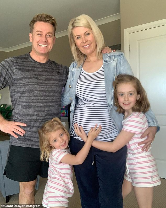 Growing family: Aside from his TV career, Grant has recently launched a podcast called It's All True? with his wife, former Sunrise producer Chezzi. The couple share two daughters, Sailor, eight, and Scout, four, and are expecting their third child early next year. All pictured
