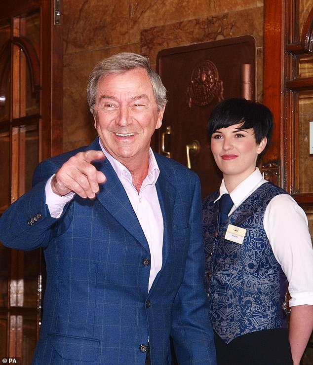 Des O'Connor arriving for the unveiling of a plaque to commemorate the centenary of the London Palladium theatre, 2010