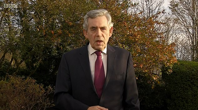 Critics branded the push 'disrespectful', with former PM Gordon Brown (pictured on the BBC's Andrew Marr show today) insisting they must instead focus on 'healing' after the pandemic.