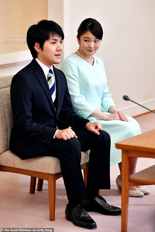 Princess Mako of Japan has once again delayed plans to marry her fiance Kei Komuro after originally announcing their engagement 2017. The couple are pictured duringa press conference in 2017
