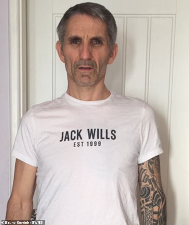 Bruno Berrick (pictured after he became ill), 48, from Rothwell in Northamptonshire, suffers from a rare and controversial condition called Electrosensitivity