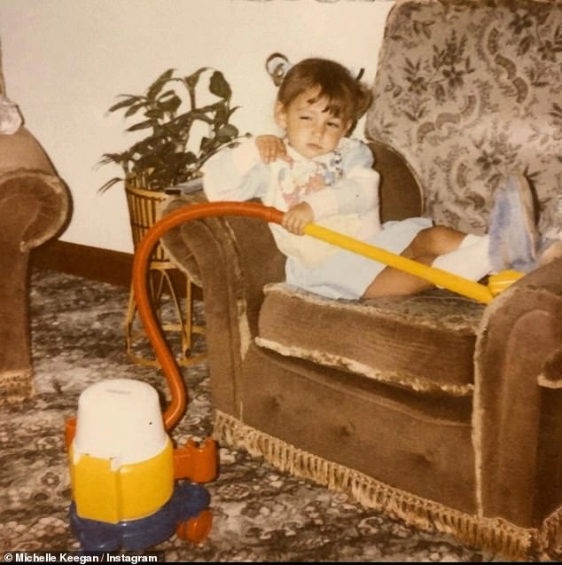 Blast from the past: Michelle Keegan shared a heartwarming childhood snap of herself as she joked she has always preferred spending her Sundays on the sofa