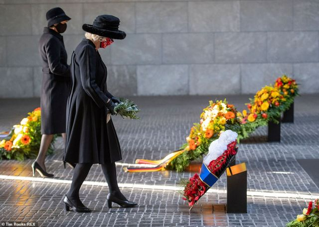 The Duchess of Cornwall lays a wreath at a ceremony at the Neue Wache memorial in Berlin, Germany, today