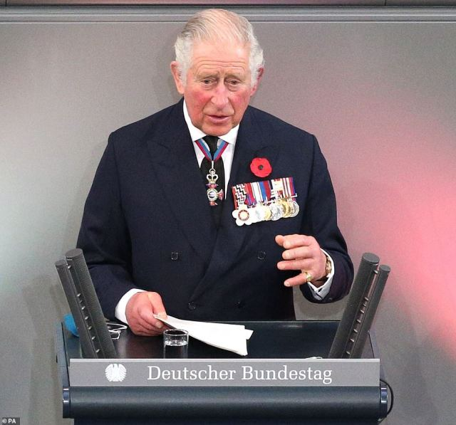 Prince Charles delivered an impassioned speech at the Bundestag for the Central Remembrance Ceremony, marking Germany's National Day of Mourning