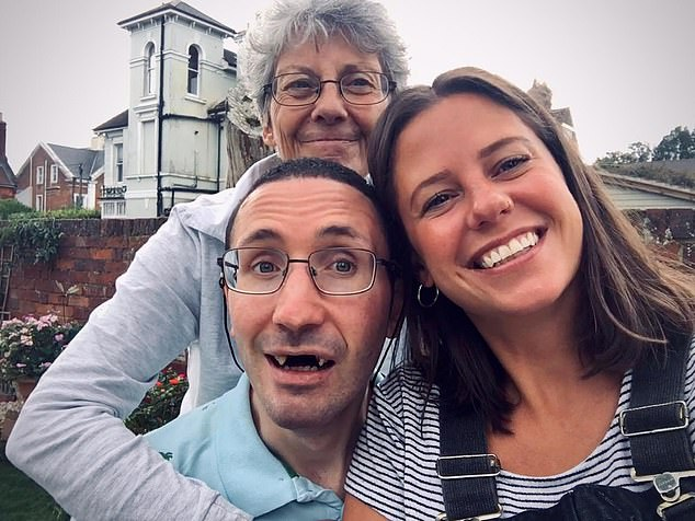 Other parents are also experiencing similar heartbreak. Ruth Adams, 66, (pictured with her daughter Hannah and son Sam) cannot visit her terminally ill son Sam, 33