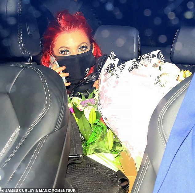 Flowers:The Wanted singer and his dance partner carried a large bouquet of flowers after their exit from the show