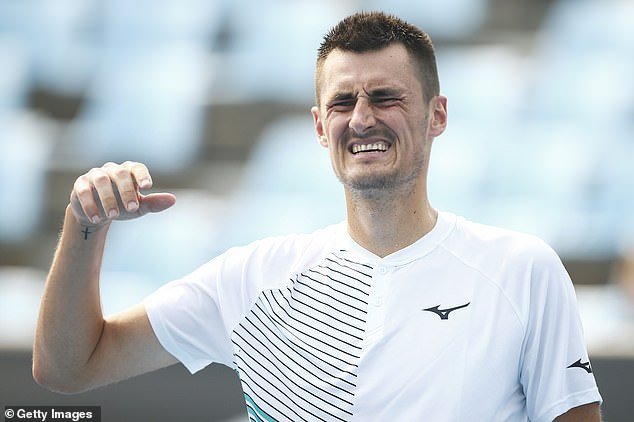 'He's going to start playing again next year':Elsewhere, Vanessa revealed that her boyfriend was back training ahead of a tennis comeback. Pictured:Bernard on January 14 inMelbourne
