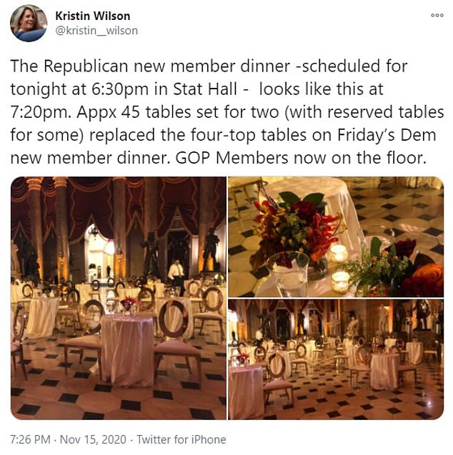 House Republicans canceled a sit-down dinner for new members on Sunday night after Democrats were forced to do the same amid backlash from social media users who vilified the politicians for flouting COVID-19 rules. Pictured:CNN correspondent Kristin Wilson shared photos of 45 tables with two seats each set up in Statuary Hall ahead of the Republican dinner
