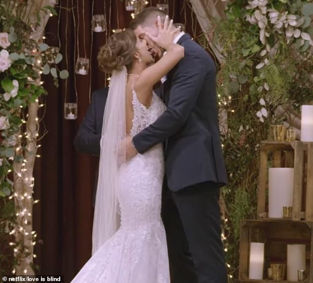 Get a room!The Netflix series followed 30 men and women as they built connections in different pods without ever seeing each other; during that speed dating-process, they were allowed to propose to each other whenever they chose (Barnett and Amber pictured)