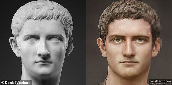 Side-by-side show a modern rendering of the third emperor Caligula, against a bust in the Met Gallery