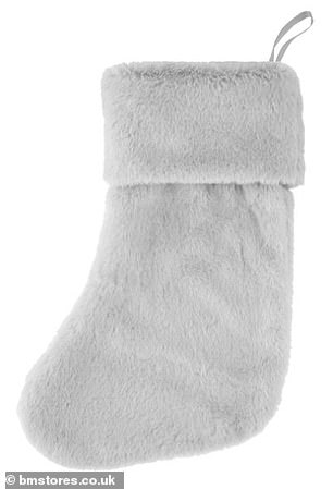 B&M'smost popular faux fur stocking (pictured), available in either grey or pink, is selling for just £3