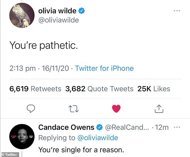 Low blow: Olivia hit back by branding Candace 'pathetic', prompting the media personality to return a low blow as she stated, 'You're single for a reason'