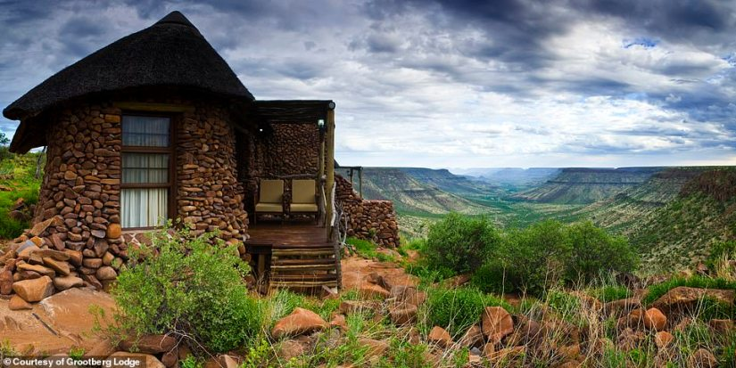 Best Accommodation is Grootberg Lodge in Etendeka Plateau, Namibia - 'a luxurious low-impact lodge helping to preserve lion and black rhino populations through community empowerment'