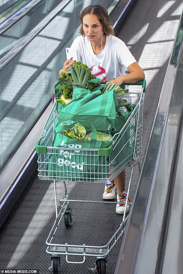 Lettuce romaine in shape: The Hollywood star, who has been a vegan since 2011, was seen carting out a trolley full of greens including leeks, spinach, kale, lettuce and cauliflower