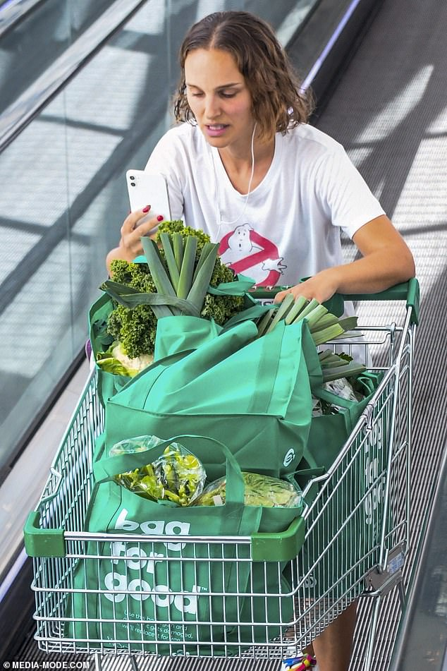 Thor-oughly healthy! Natalie Portman [pictured] stocked up on healthy foods at a local Woolworths supermarket in Sydney on Monday as she continued to prep for her role in Marvel's Thor: Love and Thunder