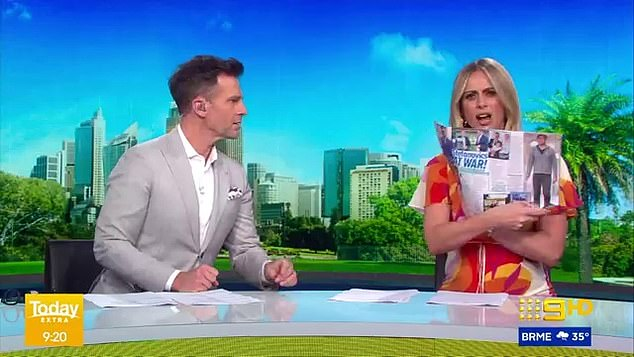 Ouch! Sylvia Jeffreys (right, with David Campbell) tore Woman's Day to shreds live on Today Extra after the magazine claimed her husband Peter Stefanovic was 'at war' with brother Karl