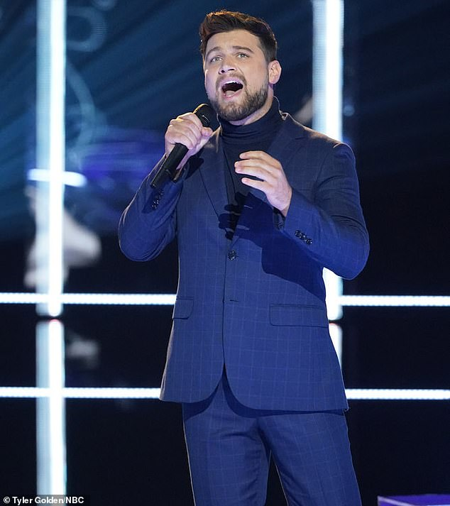 Sick mother: Ryan Gallagher faced a difficult challenge on Monday's episode of The Voice as he learned his mother was hospitalized with coronavirus