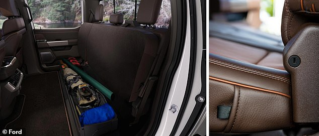 Work tools can all be securely locked in a full-width bin that comes under the rear interior seat