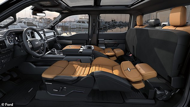 New Ford F-150 is equipped with an airline-style sleeper seat that reclines all the way back