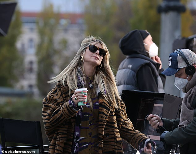 Host: Heidi Klum was back at workas she returned to filming Germany's Next Topmodel on Monday