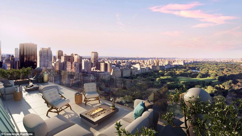 The master bedroom terrace will over look the iconic Central Park when it's completed