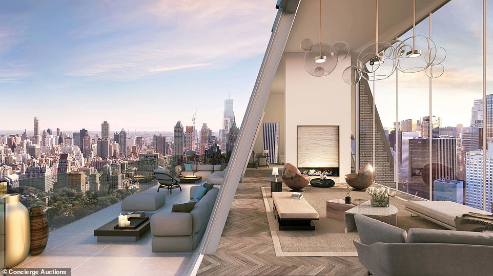 Five-bedroom m penthouse on Manhattan's 'Billionaire's Row' up for auction with NO RESERVE price