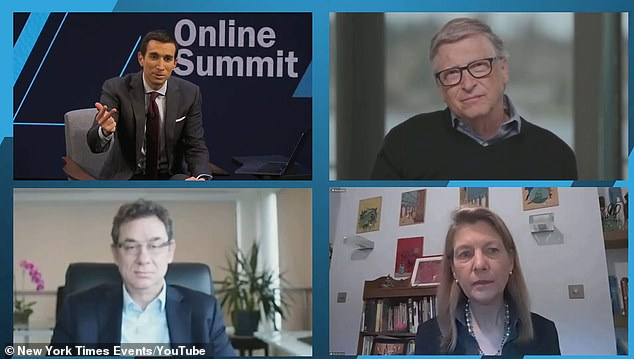 The New York Times DealBook Online Summit was held on Tuesday attended by (clockwise from top right) Microsoft co-founder Bill Gates,Heidi Larson from the Vaccine Confidence Project and Pfizer Inc CEO Albert Bourla