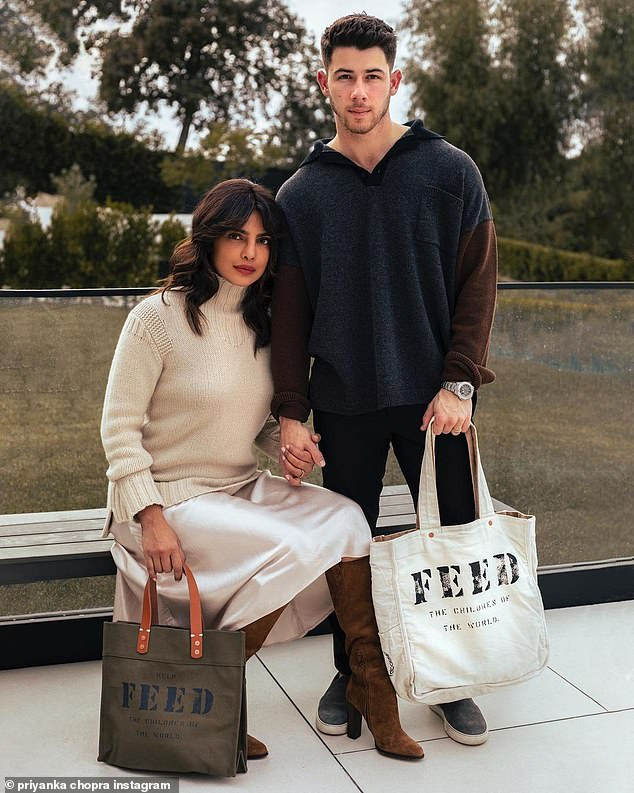 Philanthropists:Priyanka Chopra and her husband Nick Jonas, 28, put their vacation on pause to announce their latest philanthropic endeavor via Instagram on Tuesday