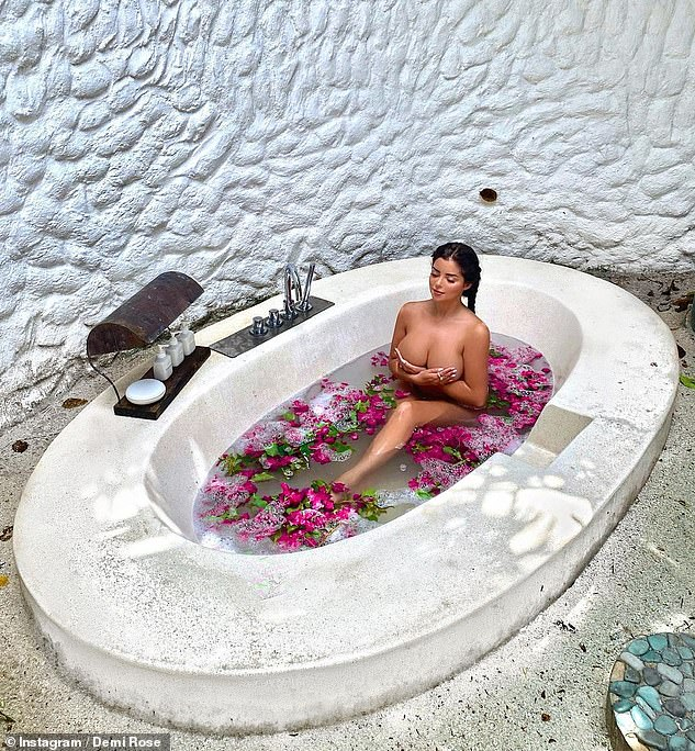 Sizzling: Demi's sizzling display comes days after she posed topless while enjoying a flower bath in a racy snap shared to Instagram on Monday