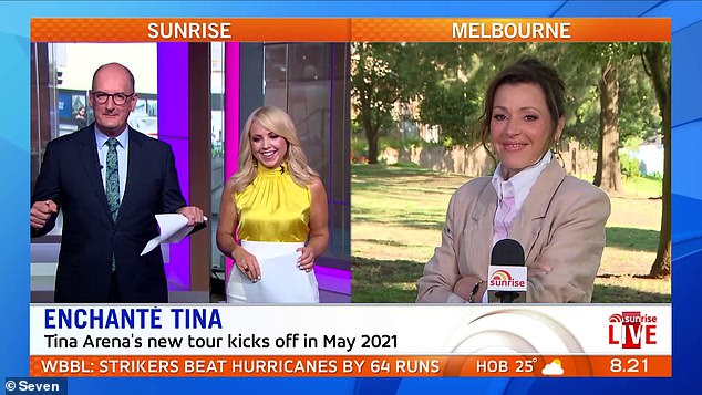 How embarrassing: David 'Kockie' Koch awkwardly mispronounced a common French saying on Wednesday's Sunrise while greeting Tina Arena alongside fill-in co-hostMonique Wright