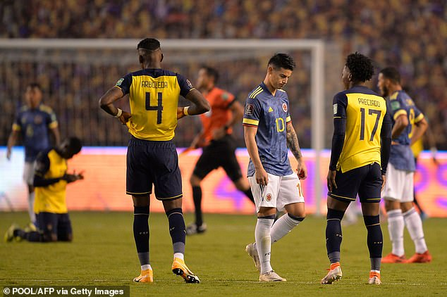James Rodriguez (centre) and Co have just four points from their opening four games