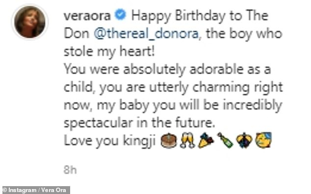 'Love youy kingji!'Their mother Vera - who has returned to work as a psychiatrist to battle COVID-19 - also took to the social media site to a cute tribute to her only son