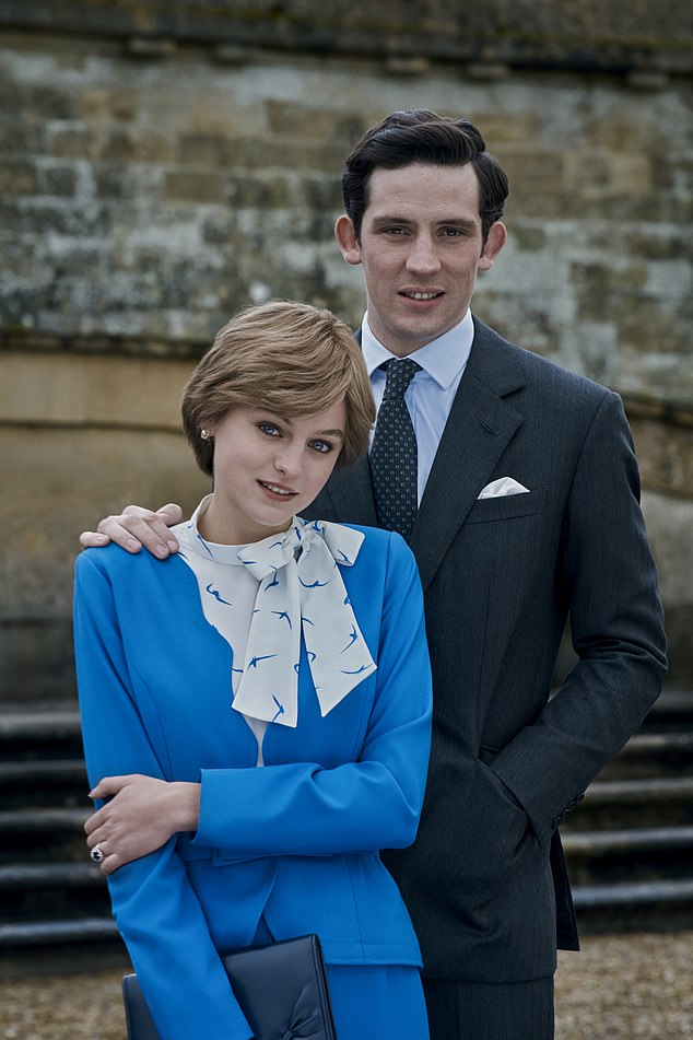Drama:The lead up to the wedding of Prince Charles and Princess Diana is shown in episode 3 , but while fans get a glimpse of Princess of Wales' iconic dress, the show chose not to renact the wedding in full (pictured Emma Corrin and Josh O'Connor in the engagement scene)
