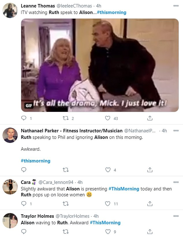 Reactions from Twitter included one person remarking: 'Ruth speaking to Phil and ignoring Alison on this morning. Awkward!'