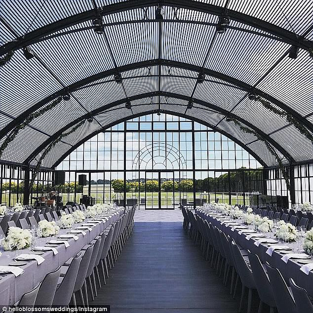 One of a kind:Guests then made their way into a purpose-built, seven-and-a-half-metre high glass marquee inspired by the nuptials of Pippa Middleton, the sister of the Duchess of Cambridge