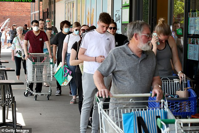People will only be allowed to leave their homes once each day to buy groceries (shoppers queuing outside Woolworths) or to seek a COVID-19 test or other medical treatment