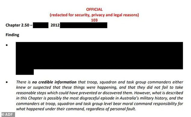 One of the killings was described in the report as 'possibly the most disgraceful episode in Australia's military history' but details were completely redacted (Pictured: Chapter 2.50 of the Afghanistan Inquiry report)