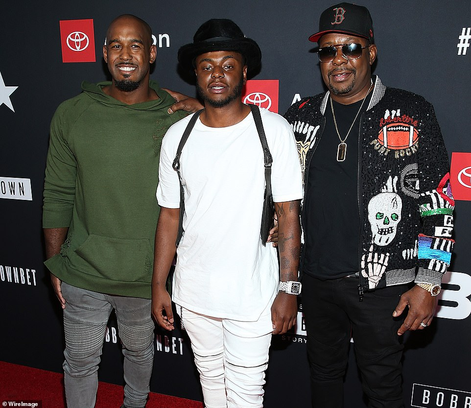 """Landon Brown, Bobby Brown Jr., and Bobby Brown attend BET and Toyota present the premiere screening of """"The Bobby Brown Story"""" at Paramount Theatre on August 29, 2018 in Hollywood, California"""