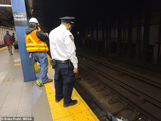 A woman was hospitalized on Thursday morning after being pushed onto the tracks at Union Square subway station and struck by a 5 train in an unprovoked attack on a male assailant