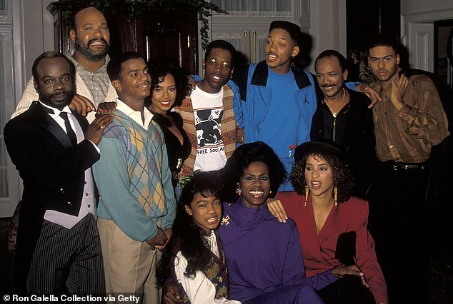 Repose: Joseph, James, Alfonso, Tyler Collins, Kadeem Hardison, Will, Quincy JOnes, Al B. Sure!, Tatyana, Janet and Karyn are pictured during a shoot day on the show in 1990