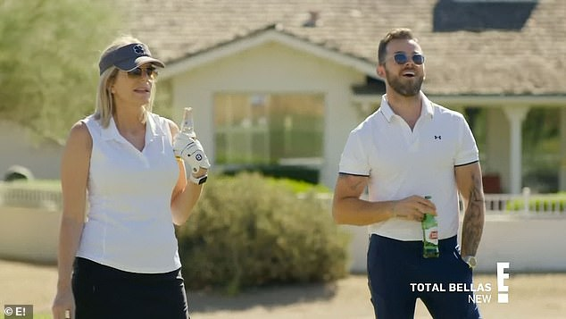 Golf buddies:Kathy and Artem meanwhile went golfing and had a grand old time
